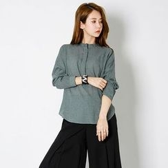 FASHION DIVA - Mandarin-Collar Half-Placket Shirt