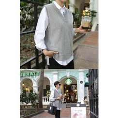 PPGIRL - V-Neck Wool Blend Knit Vest