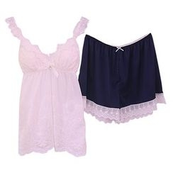 Snorie - Lounge Wear Set: Lace Strappy Top + Lace Trim Shorts