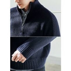 GERIO - Zip-Front Rib-Knit Sweater