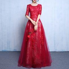 名贵风格 - 中袖蕾丝晚礼服