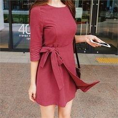 ERANZI - Cotton Surplice-Wrap Mini Dress