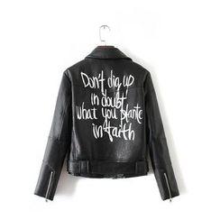 Chicsense - Faux-Leather Zip Jacket