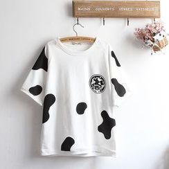 akigogo - Cattle Print Short Sleeve T-Shirt