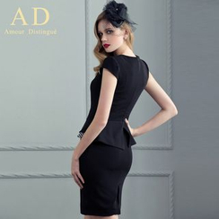 Aision - Short-Sleeve Peplum Dress