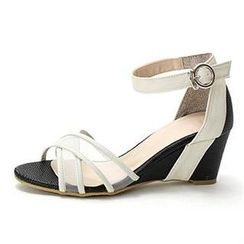 MODELSIS - Mesh Panel Ankle-Strap Wedge Sandals