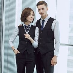 Mija - Couple Matching Vest  / Set: Plain Shirt + Dress Pants + Vest