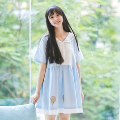 Moricode - Elbow-Sleeve Print Sailor Dress