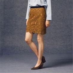 MAGJAY - Banded-Waist Laced Skirt