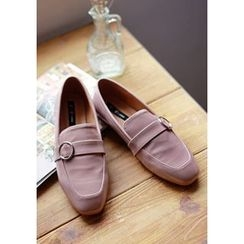 GOROKE - Square-Toe Buckled Patent Loafers
