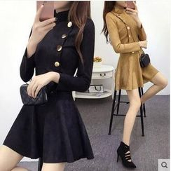 Sienne - Long Sleeve Buttoned A-Line Faux Suede Dress