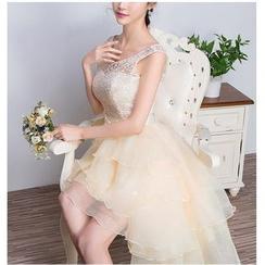 Loree - Strapless Tiered Dip Back Mini Prom Dress