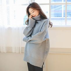 JUSTONE - Turtle-Neck Wool Blend Sweater