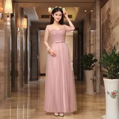 minako - Puff-sleeve Mesh Evening Gown