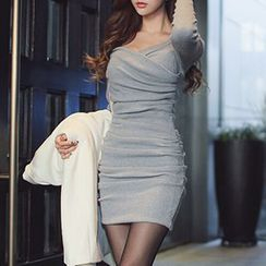 Rocho - Long-Sleeve Wrap-Front Shirred Dress