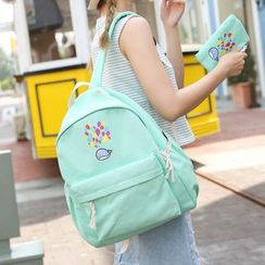 Seok - Set: Whale Print Canvas Backpack + Pouch