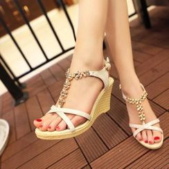 Shoes Galore - Embellished T-Strap Wedge Sandals