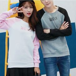 Bay Go Mall - Couple Matching Letter Embroidered Color Panel Pullover