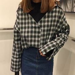 Dute - Mock Two Piece Plaid Blouse
