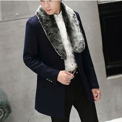 Bay Go Mall - Furry Trim Woolen Coat