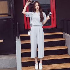 Effie - 套裝: 短袖鏤空上衣 + 純色九分褲