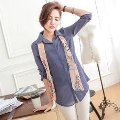 Tokyo Fashion - Tab-Sleeve Chiffon Shirt with Scarf