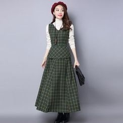 Ebbie - Set: Plain Turtleneck Long Sleeve Top + Plaid V-Neck Pinafore Dress
