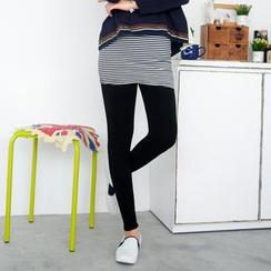 59 Seconds - Inset Striped Skirt Leggings