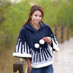 YR Fashion - Giraffe Print Pompom Hooded Cape