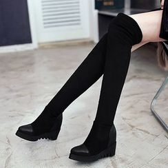 Gizmal Boots - Platform Hidden Wedge Over The Knee Boots