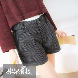 Tokyo Fashion - Faux-Leather-Panel Plaid Shorts