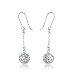 MaBelle - 14K/585 White Gold Dangle Ball with Diamond Cut Earrings
