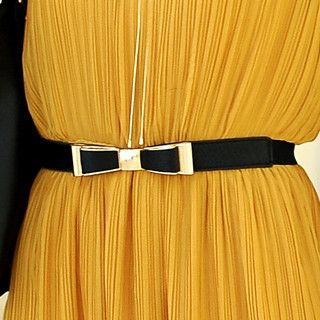 Bow-Accent Elasticized Slim Belt
