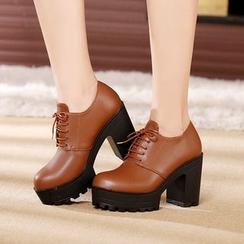 Hannah - 真皮粗跟牛津鞋