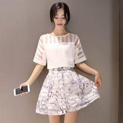 Ashlee - 套装: 短袖条纹上衣 + 碎花短裙