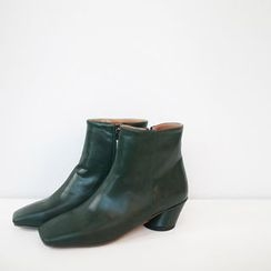 STYLEBYYAM - Faux-Leather Squared-Toe Ankle Boots