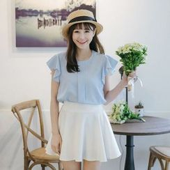 Tokyo Fashion - Frilled Sleeve Plain Blouse