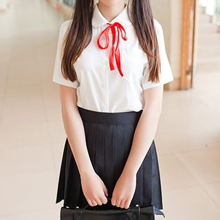 GOGO Girl - School Uniform Party Costume Short-Sleeve Shirt / Pleated Skirt