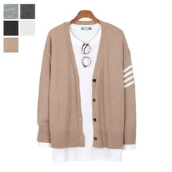 DANGOON - V-Neck Contrast-Trim Buttoned Cardigan