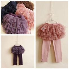 Cuckoo - Kids Inset Tulle Skirt Leggings