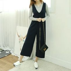 Dodostyle - Deep V-Neck Wide-Leg Jumper Pants