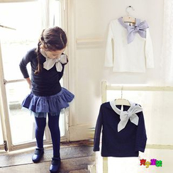Cuckoo - Kids Check Bow Long-Sleeve Top