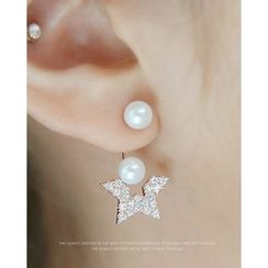 Miss21 Korea - Faux-Pearl Rhinestone Star-Dangle Earrings
