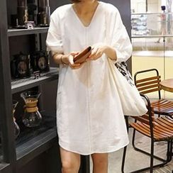 Champi - V-neck Lace Panel Tunic