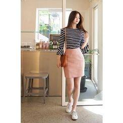 CHERRYKOKO - Linen Blend H-Line Mini Skirt