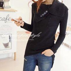 REDOPIN - Rib-Knit Neck  Pullover