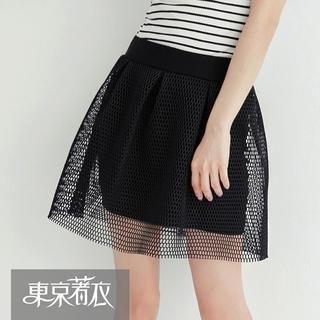 Tokyo Fashion - Elastic-Waist Mesh-Overlay A-Line Skirt