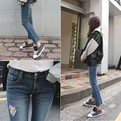 DISCOSALON - Fray-Hem Distressed Jeans