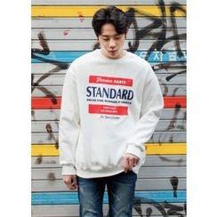 GERIO - Round-Neck Lettering Sweatshirt