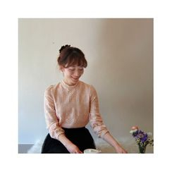 LEELIN - Stand-Collar Lace Blouse